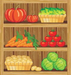 Shelfs with food vector image
