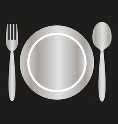 Silver plate fork and spoon vector