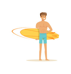 smiling man standing on the beach with yellow vector image