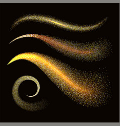 Sparkle stardust golden glittering waves vector