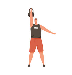 strong man training with heavy kettlebell lifting vector image