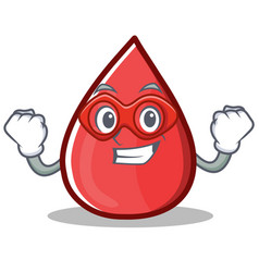 Super hero blood drop cartoon mascot character vector