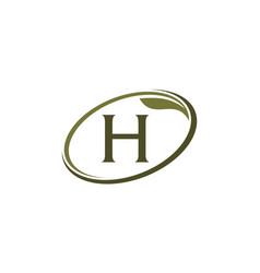 Swoosh leaf letter h vector