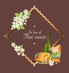 Thai sweet wreath design with steamed pumpkin egg vector