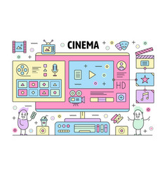 thin line cinema poster banner template vector image