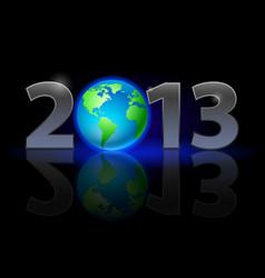 Twenty thirteen year earth on black background vector