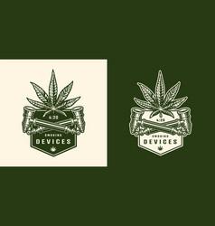 vintage monochrome cannabis logo vector image