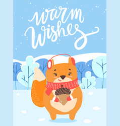 Warm wishes fox with acorn in winter woods card vector