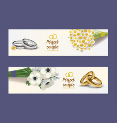 Wedding rings wed shop engagement symbol vector