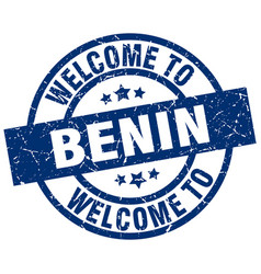 Welcome to benin blue stamp vector