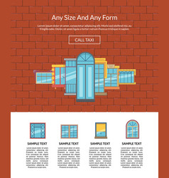 window flat icons on brickwall background vector image