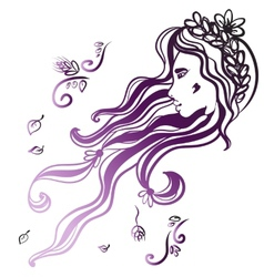 woman face with long black hair vector image