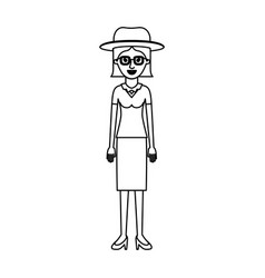 woman with hat and glasses and blouse and skirt vector image