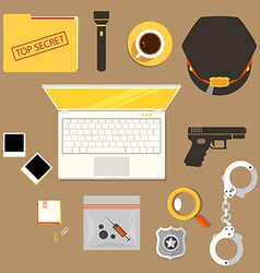 workplace of police officer policeman police c vector image