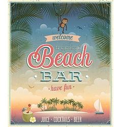 beach bar ads flyer vector image vector image