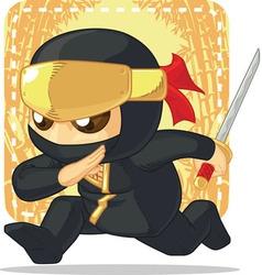 Cartoon of Ninja Holding Japanese Sword vector image