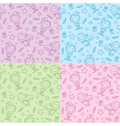 christmas hand drawn patterns vector image