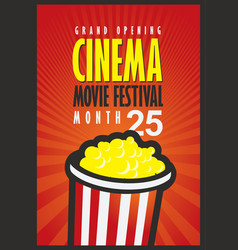 cinema movie festival poster with popcorn bucket vector image