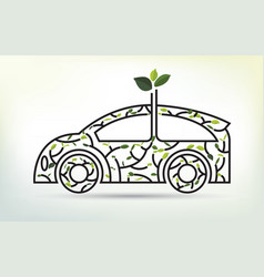 eco car concept with recycle icon of leaf vector image