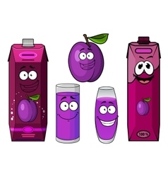 Happy fresh plum juice characters vector image vector image