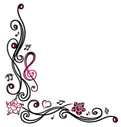 music notes clef and flowers vector image