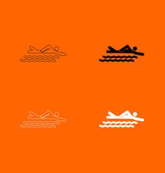 swimming person stick icon vector image vector image