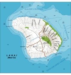 Topographic map of lanai island hawaii vector