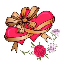 Two hearts tied with a ribbon bow and flowers vector image vector image