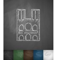 Castle icon hand drawn vector