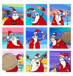 Christmas cartoon Santa cards set vector image vector image