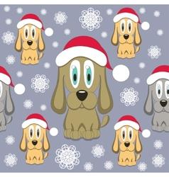 Christmas Dog Seamless Pattern vector image