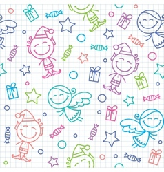 Christmas hand drawn pattern vector