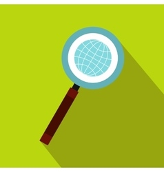 Earth with magnifying glass search icon flat style vector image vector image