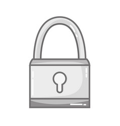 grayscale padlock object security symbol design vector image vector image