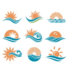 Sun and sea icons vector