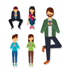 people in different poses using mobile phone vector image