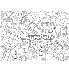 Set law and justice coloring book vector image