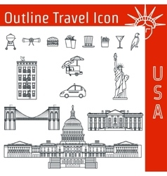 USA Icon Outline 1 vector image