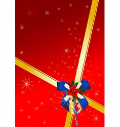 Christmas card with blue bow vector image vector image