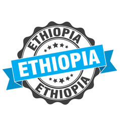 ethiopia round ribbon seal vector image vector image