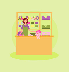 female florist workplace vector image