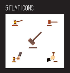 flat icon court set of tribunal hammer crime and vector image