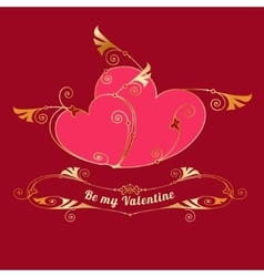 Gold hearts Valentines day love message vector image vector image