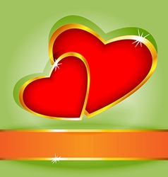 Heart over green card vector image vector image