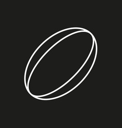 rugby ball icon on black background vector image vector image