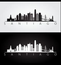 santiago skyline and landmarks silhouette vector image