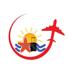 travel icon with airplane red vector image vector image