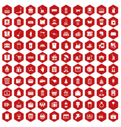 100 box icons hexagon red vector