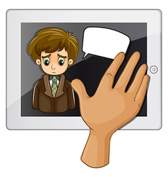 A hand touching the gadget with a sad man vector