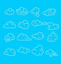 abstract clouds signs black thin line icon set vector image